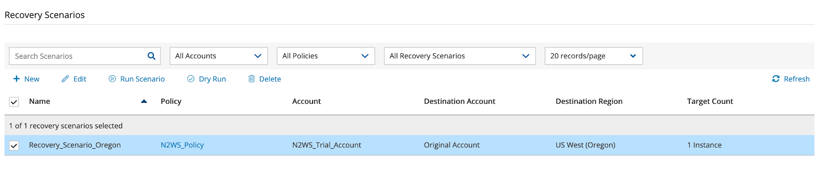 n2ws v3.0 recovery scenarios