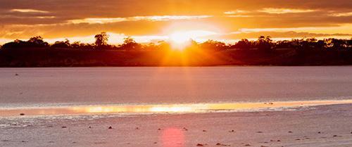 Pink Lakes at Sunset