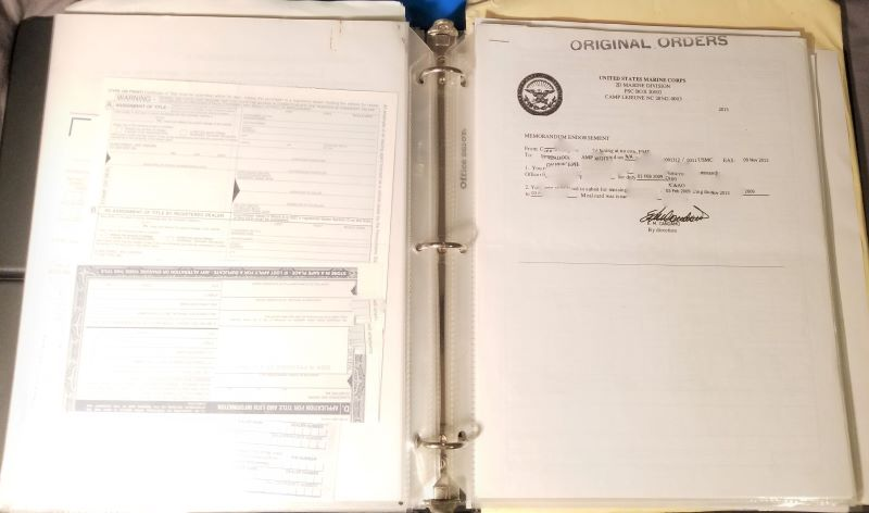 PCS binder for military moves