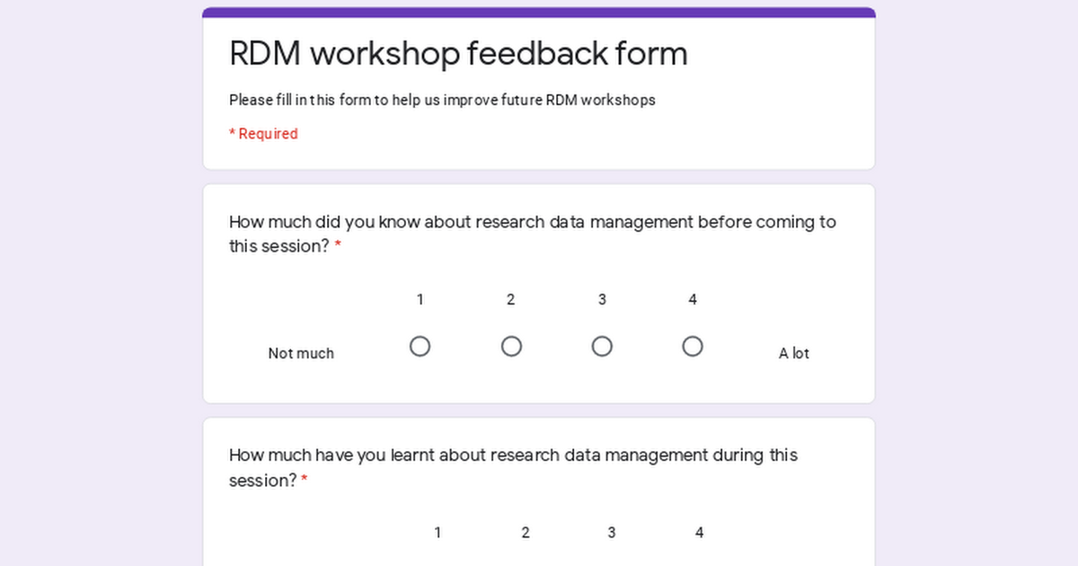 RDM workshop feedback form