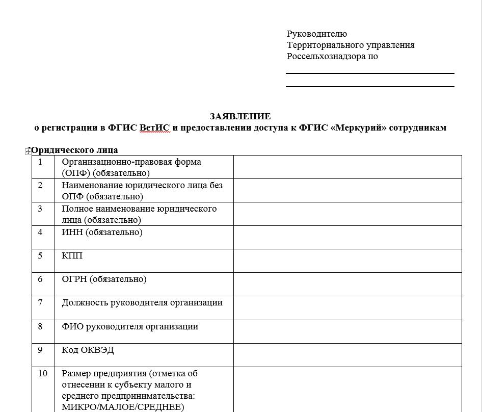 Заявление о регистрации в фгис ветис образец для ип кратко о регистрации ип