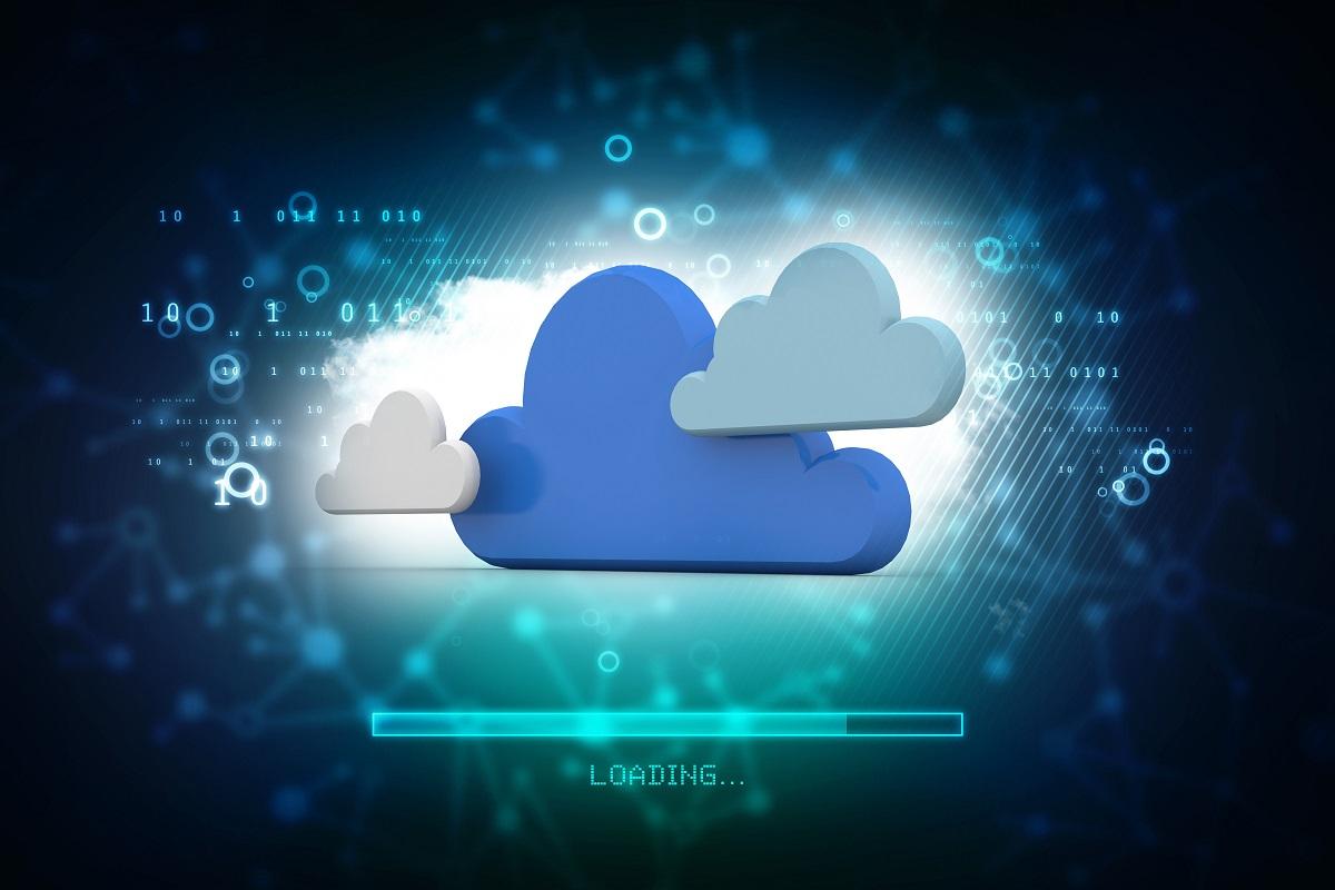 3d雲彩網絡概念的例證在抽象技術背景中。