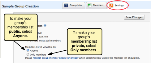 Screenshot of the public vs. private options for group member visibility.