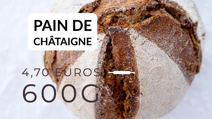 Ingrédients : farine de blé bio T80 et 20% de farine de châtaigne bio d'Ardèche,  du  levain naturel de seigle, sel de Guérande, eau.  Un délicieux pain de châtaigne, avec un goût très légèrement sucré,  fermentation longue au levain naturel, pétri à la main, cuit au feu de bois.