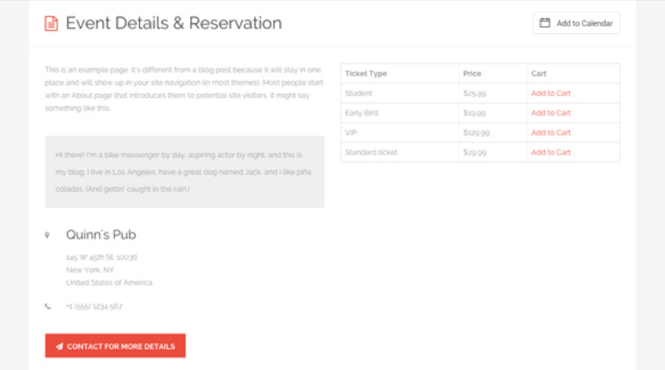 sample event detail and reservation page for eventbuilder directory theme