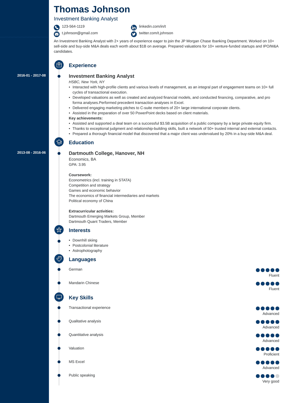investment resume