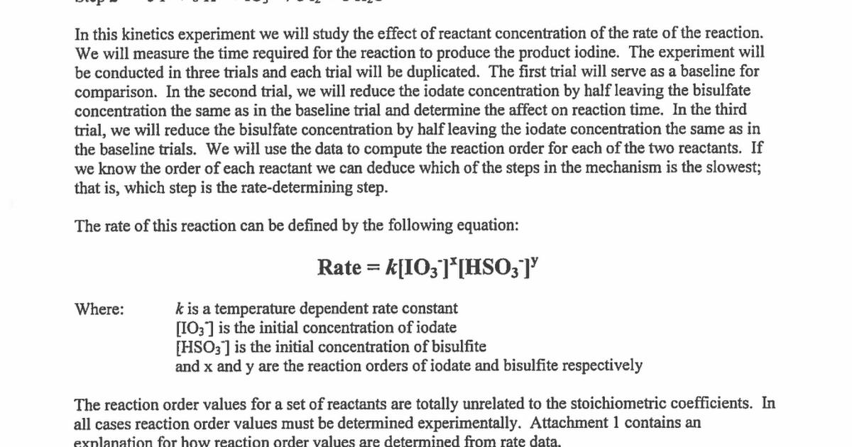 iodine clock reaction essay Reaction between lead nitrate (pbno3) and potassium chromate (k2cro4) solutions b reaction between potassium permanganate (kmno4) and oxalate ion (c2o42-) c iodine clock reaction a reaction between lead nitrate and potassium chromate solutions lead nitrate reacts with potassium chromate to form yellow lead chromate precipitate and aqueous.
