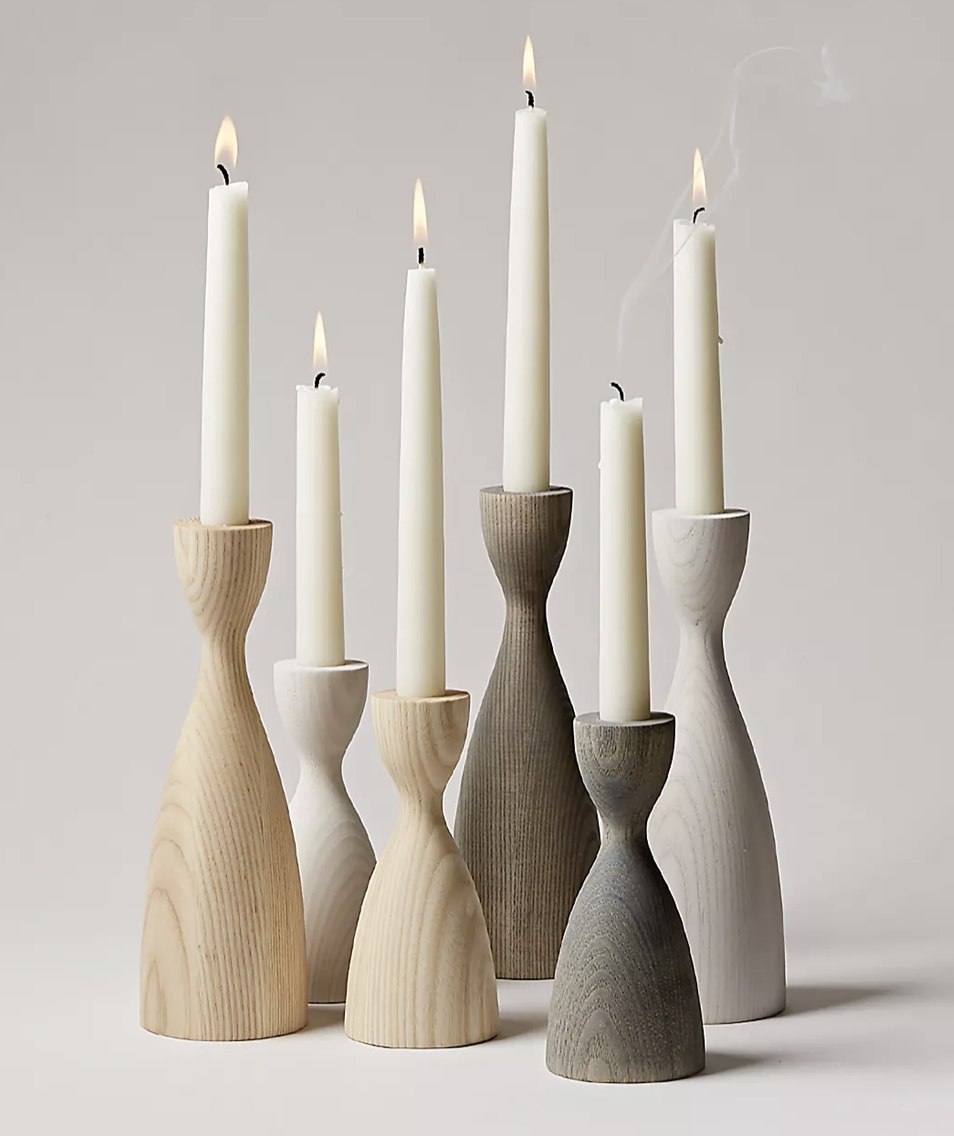 farmhouse pottery candlesticks for wedding table decorations