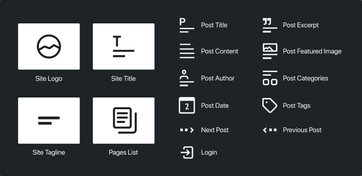 Image showing list of new WordPress 5.8 blocks