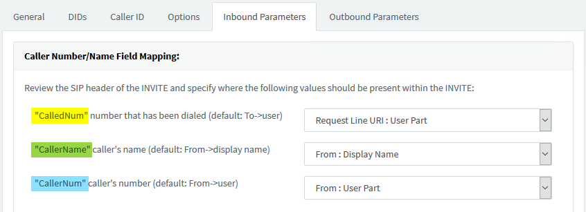 "Caller Number/Name Field Mapping in SIP Trunk settings &gt; <b><b><b>""Inbound Parameters""</b></b></b>."