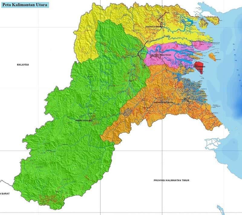 Peta Kalimantan Utara Gambar HD Lengkap dan Keterangannya