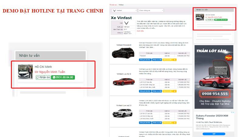 Vị trí hiển thị số hotline tại trang chính của tinbanxe.vn