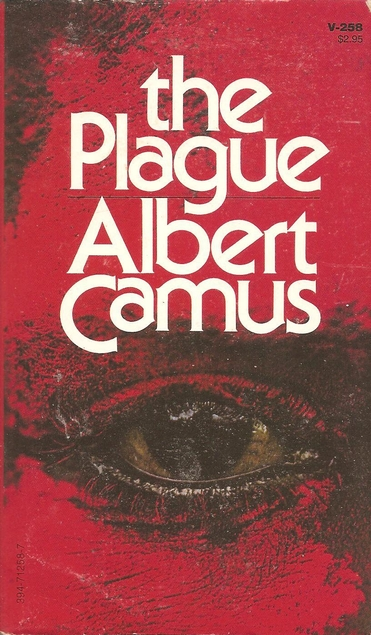 A red cover with a sketch of an eye in yellow, black, and white detail in the center of the image. The title and author's name are in white text above the image of the eye. The title reads The Plaugue. The author's name reads as Albert Camus.