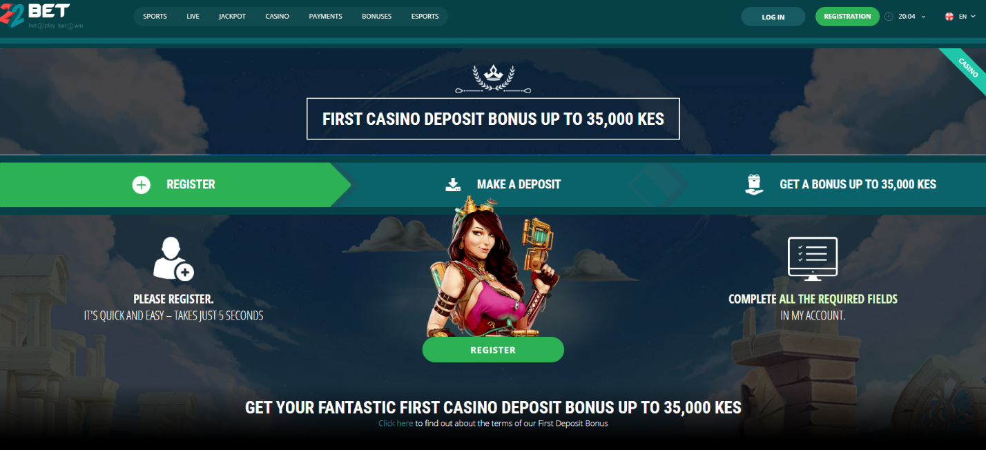 22Bet Casino Welcome Bonus Screenshot