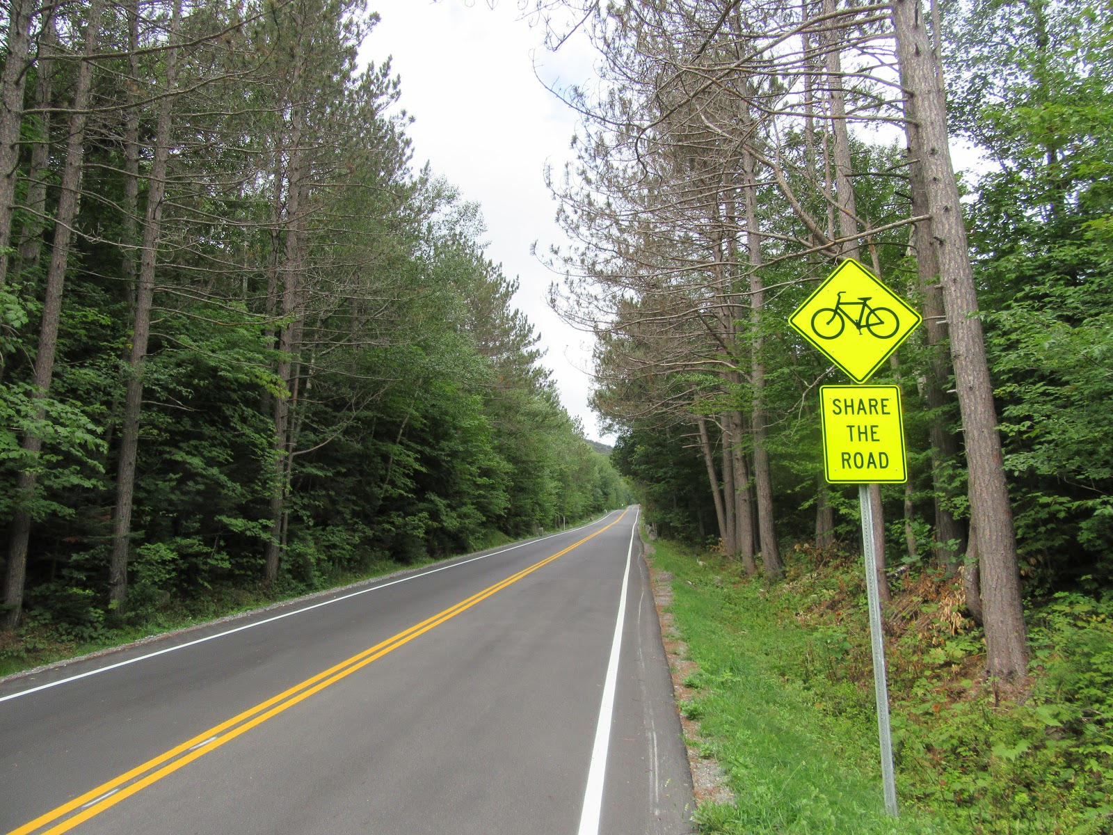 Cycling Whiteface Mountain Memorial Highway - Share the Road sign