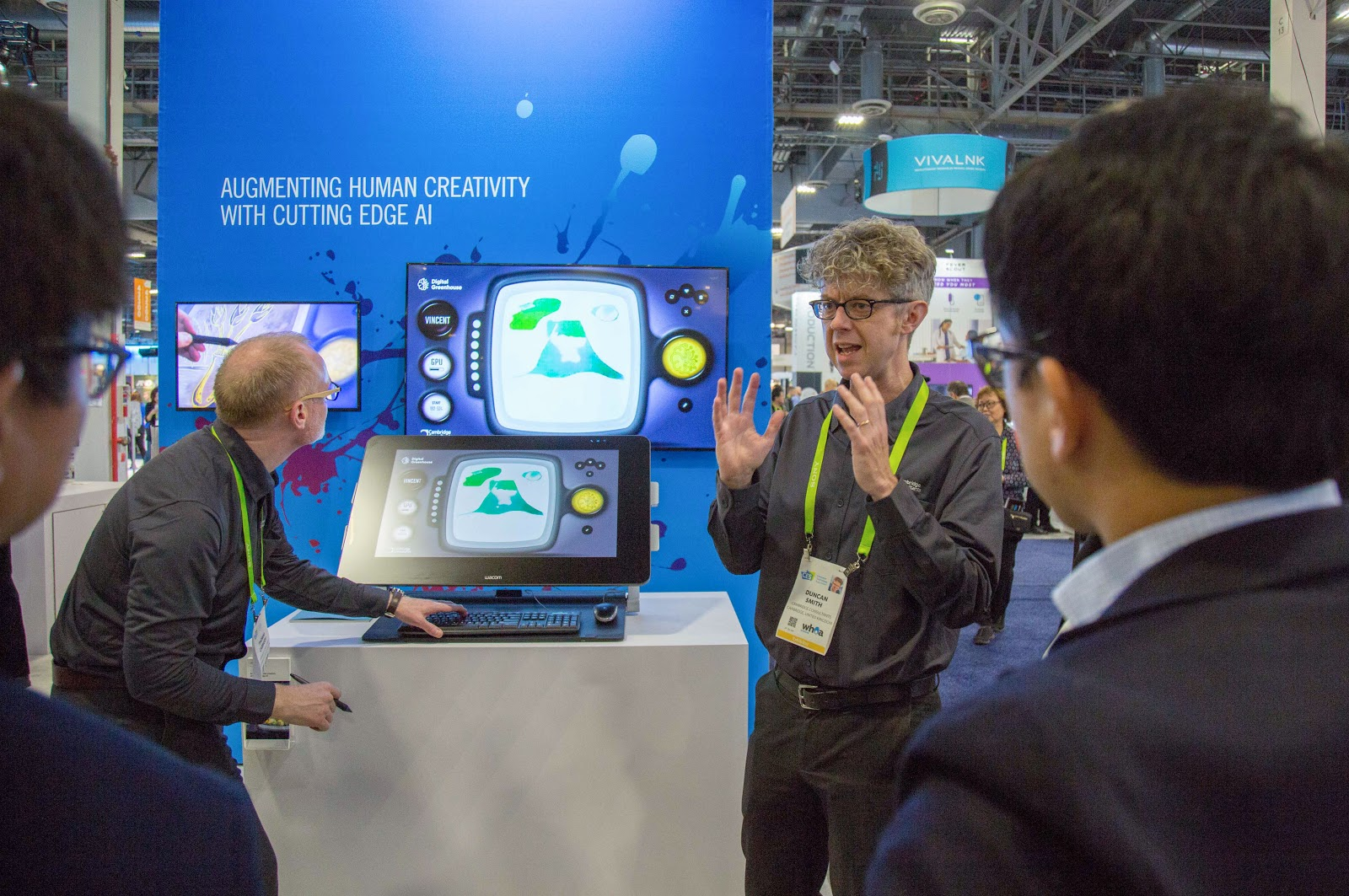 Duncan Smith, Head of the ICE division at Cambridge Consultants, describes Vincent's deep learning capabilities to the crowd at CES 2018.
