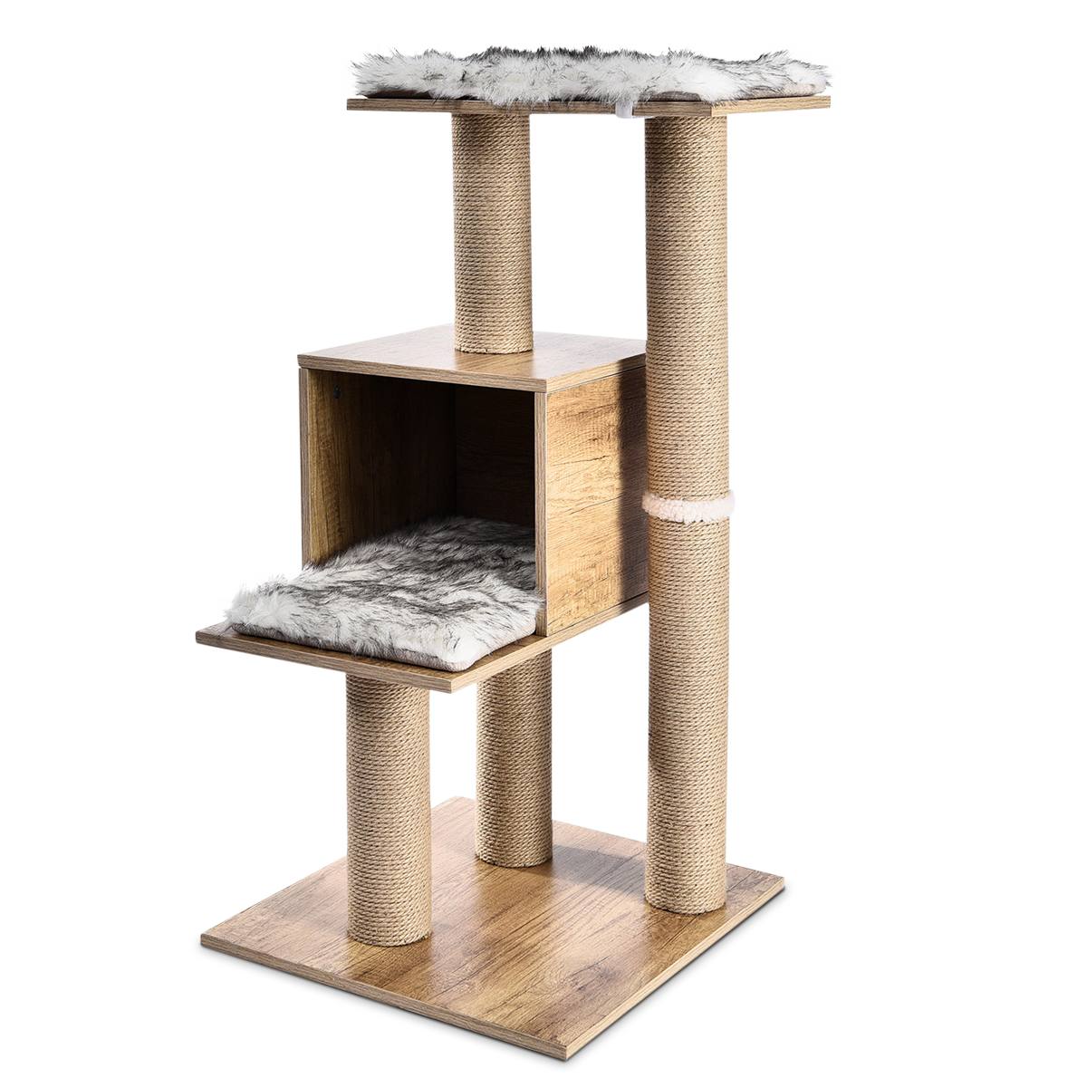 Casa de 3 pisos para gatos.