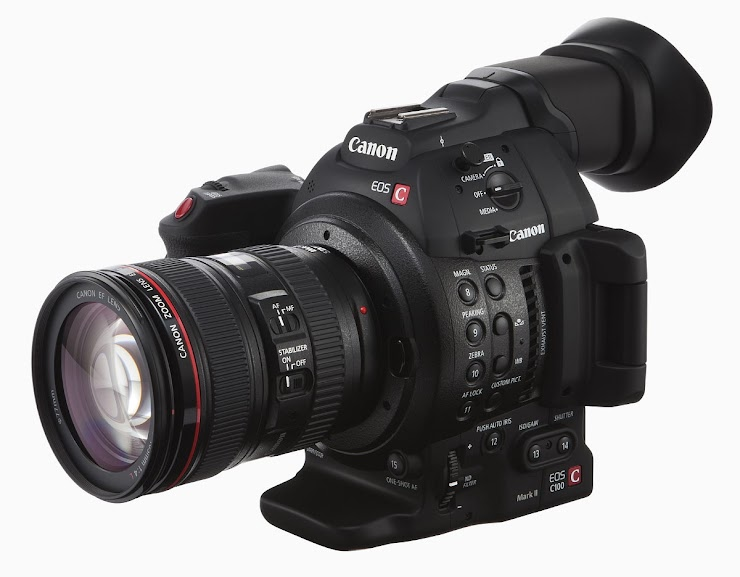 Cinema Kit: Canon C100 with 70-200mm zoom lens, charger, 3 spare batteries, 2 SD cards, hard-rolling carrying case, lens caps