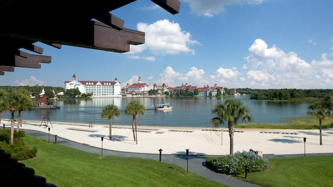 A balcony overlooking Seven Seas Lagoon and, beyond, Disney's Grand Floridian Resort and Spa