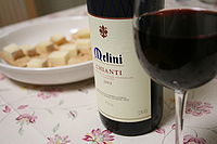 A glass of Chianti made primarily from Sangiovese