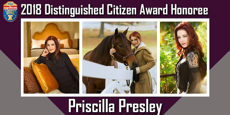 "The AutoZone Liberty Bowl is proud to honor Priscilla Presley for her lifetime of outstanding achievements as a business entrepreneur, actress, producer, author and philanthropist.   Priscilla had the singular vision and passion to open her former home to the public and develop Graceland into one of the most well-known and iconic destinations in the world.   Priscilla's acting career has spanned decades. She was one of the dramatic stars of the long-running, hit TV series ""Dallas"" and also became a comedic star in the popular ""Naked Gun"" movies."