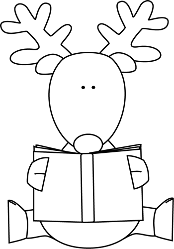 reindeer-reading-book-black-white.png