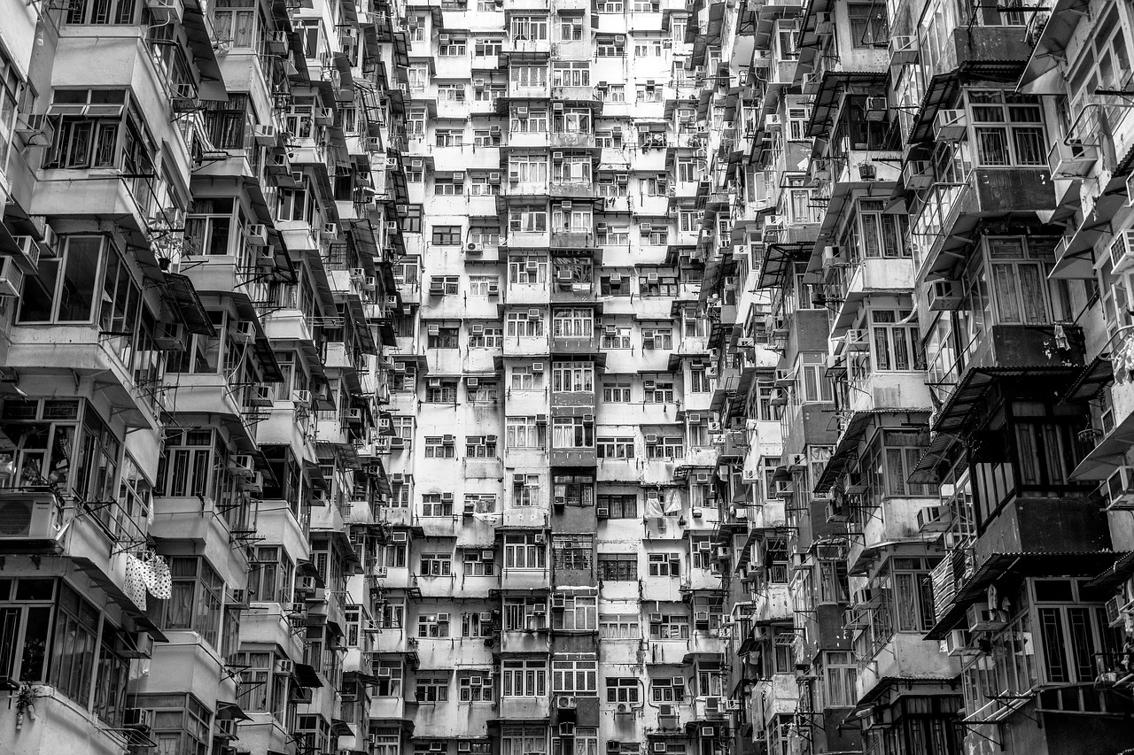 Facade of claustrophobic Hong Kong apartments