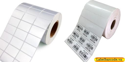 Giấy in mã vạch 3 tem 35x22mm x 3 tem 1 hàng chất liệu decal giấy và decal xi bạc