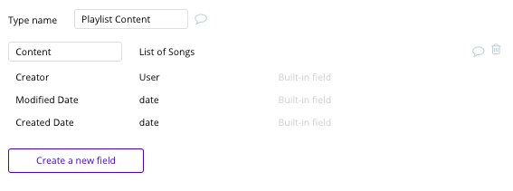 Tipos de dados e campos - app de streaming tipo spotify