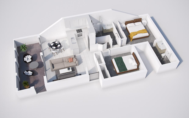 denah rumah 2 kamar