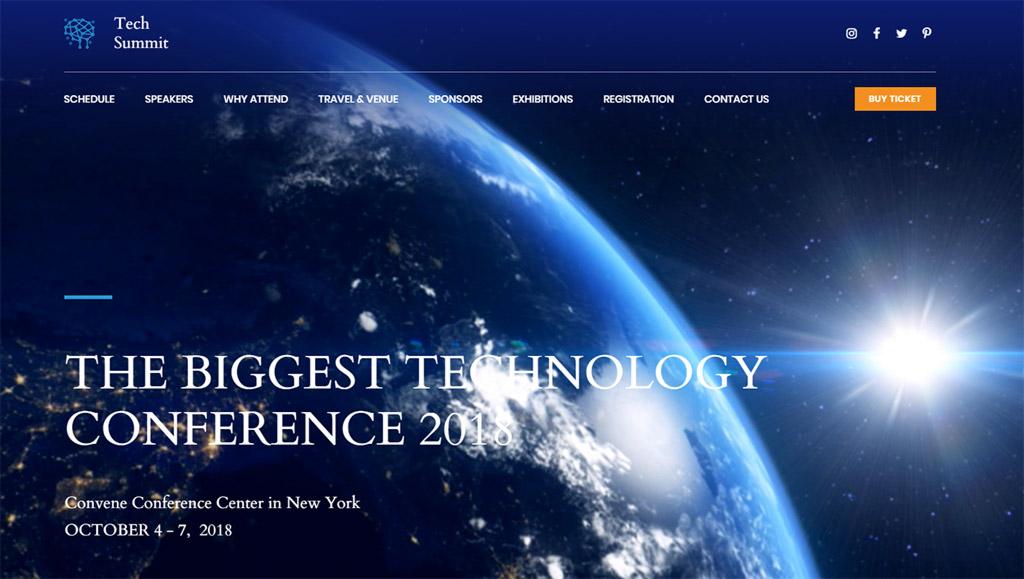 template de sites tech summit