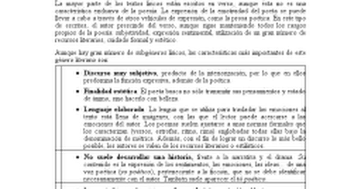 Caracter 237 Sticas De G 233 Nero De La Poes 237 A L 237 Rica Docx
