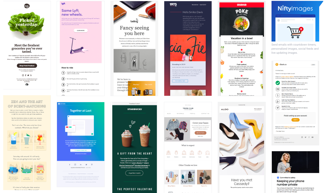 really good emails catalog of email marketing templates