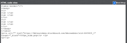 Source HTML displayed in a window
