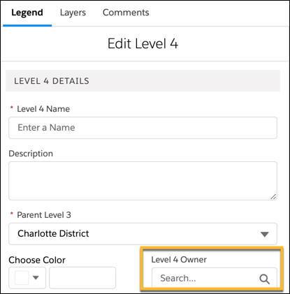 The Legend, level 4 details box is displayed and Level 4 owner is selected.