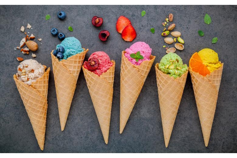 Мороженое в вафельных рожках
