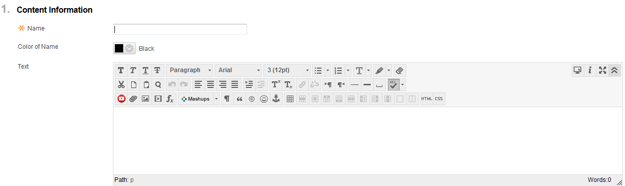 Image showing what the text editor toolbars look like after you click on the double chevron