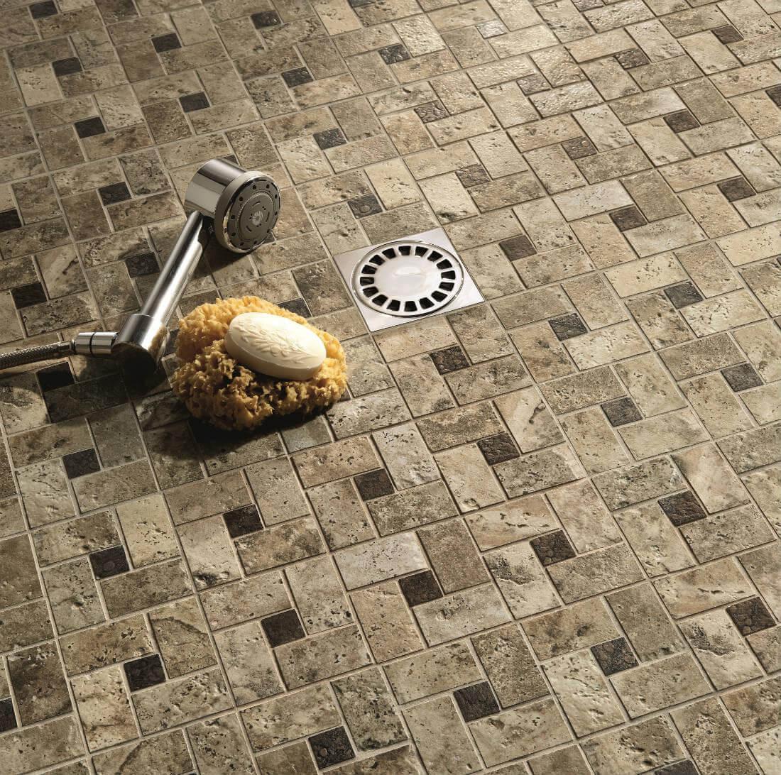 Stone-look windmill tile shower flooring