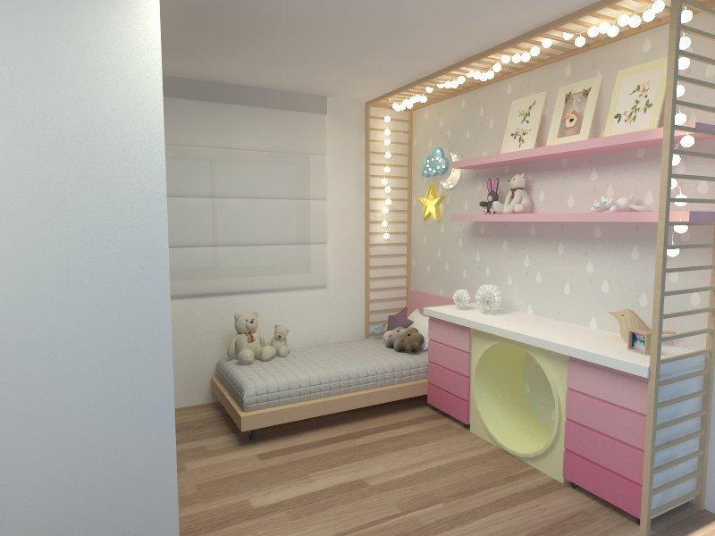 quarto de bebe rosa com papel de parede e piso de madeira