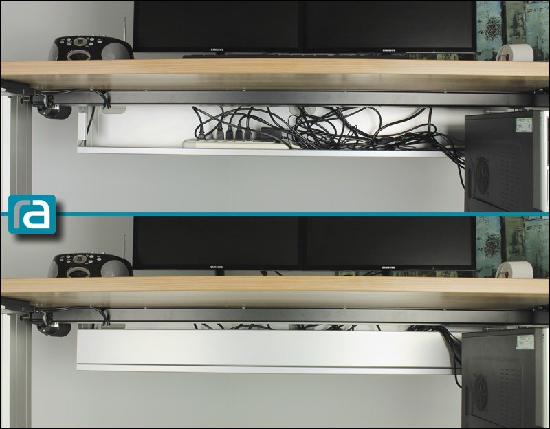Standing desk before and after adding the RightAngle wire management box - underside view