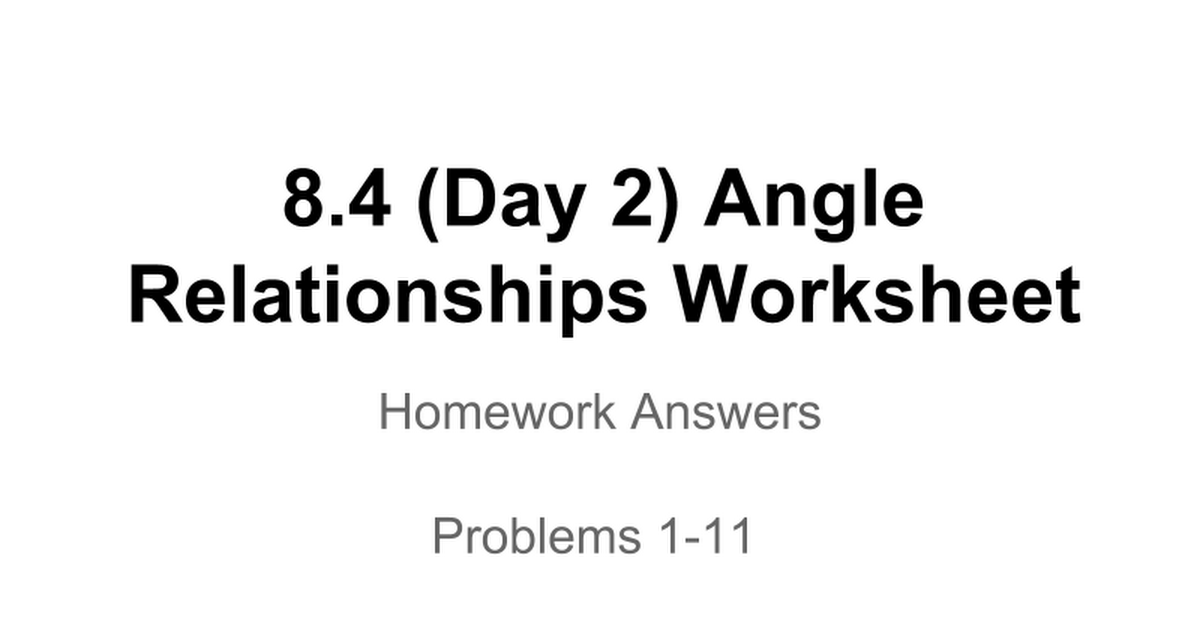 84 Angle Relationships Worksheet Google Slides – Angle Relationships Worksheet