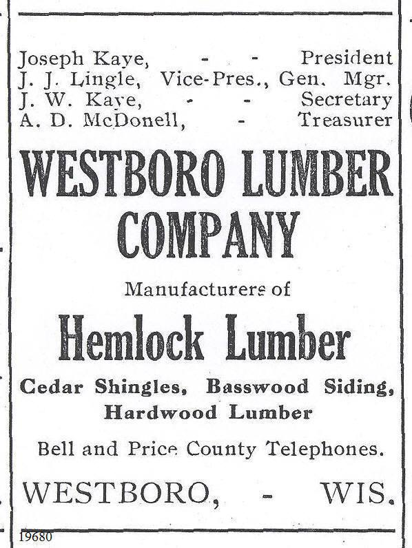 C:\Users\Robert P. Rusch\Desktop\II. RLHSoc\Documents & Photos-Scanned\Rib Lake History 19600-19699\19680 1913 Ad for sale of hemlock lumber by Westboro Lumber Co.jpg