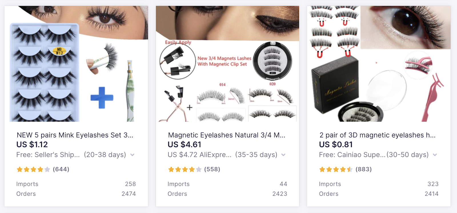 High-Demand Products to Sell with Oberlo: Fake Eyelashes