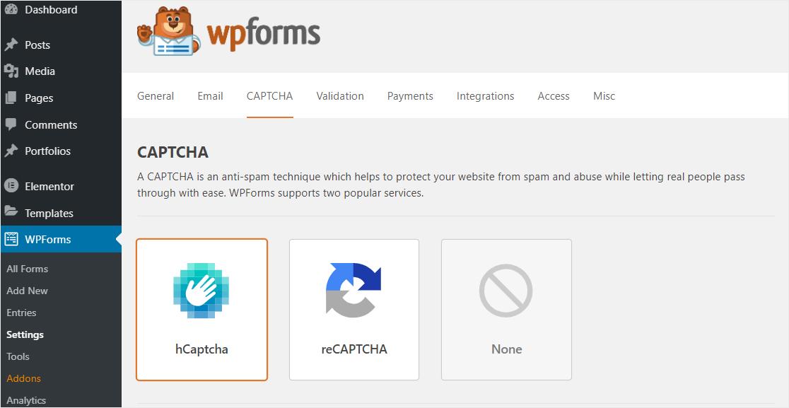 WPForms hCaptcha settings