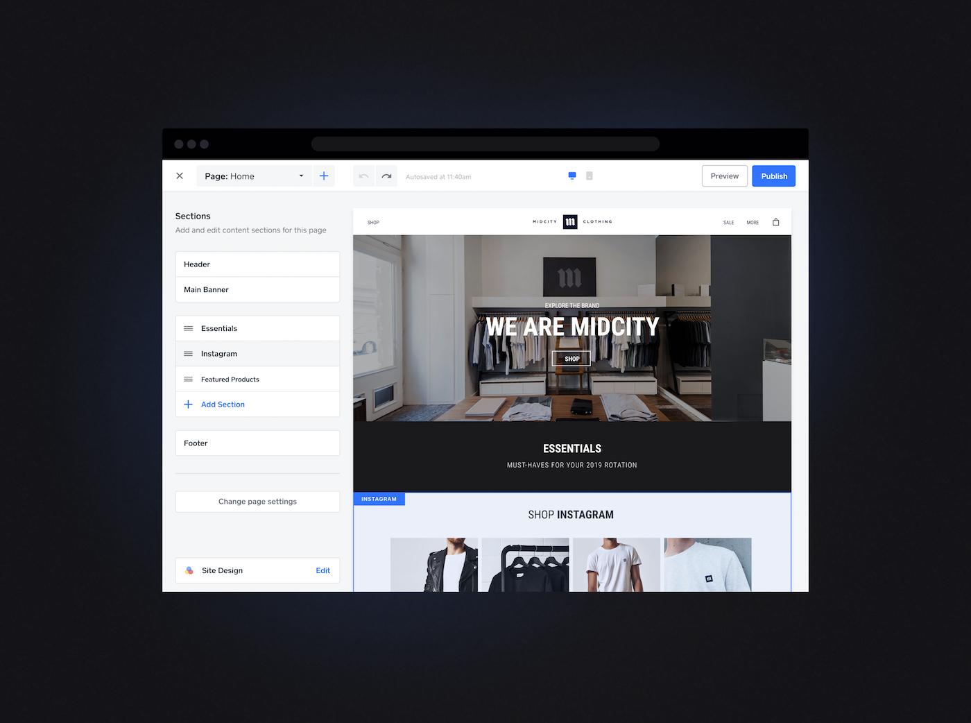 Screenshot of Square ecommerce platform.