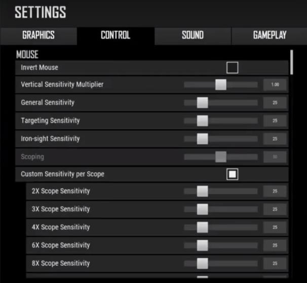 pubg mouse settings
