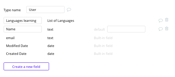 Bubble no code Duolingo clone tutorial with user data type and fields