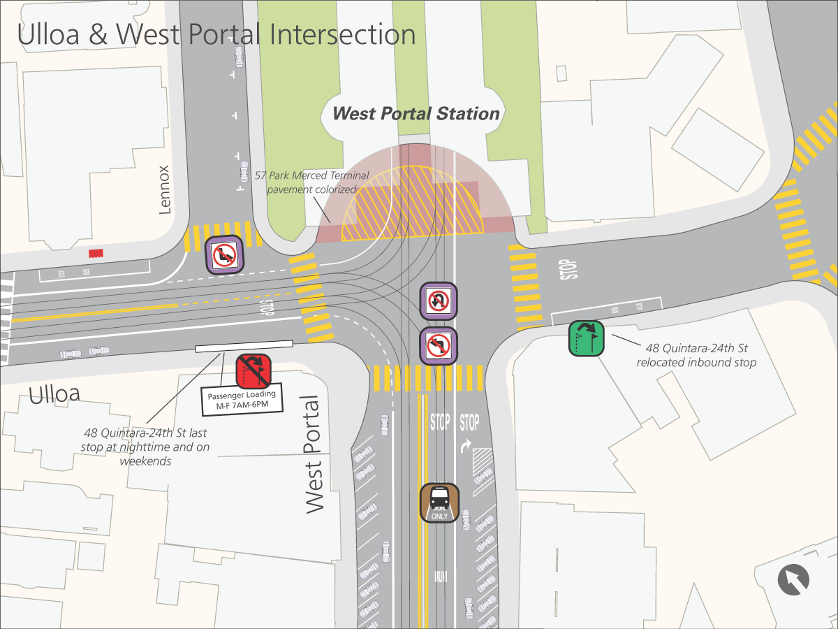 Ulloa and West Portal Intersection map