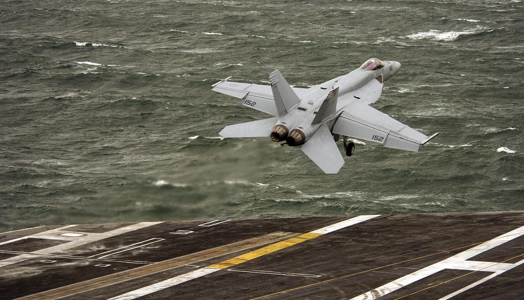 A F/A 18-E Super Hornet jet launches from USS Dwight D. Eisenhower.