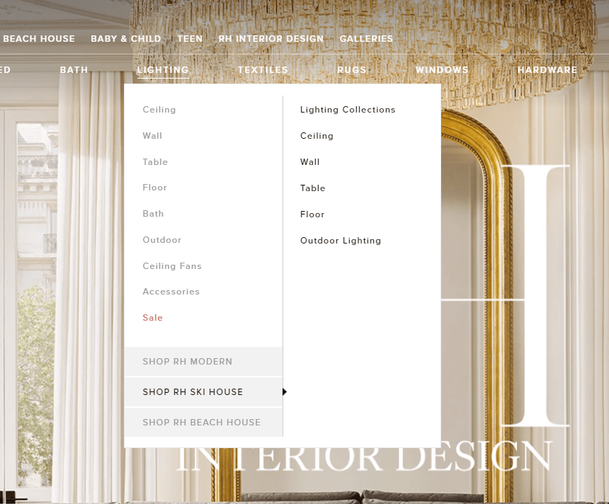 Example of a Restoration Hardware menu